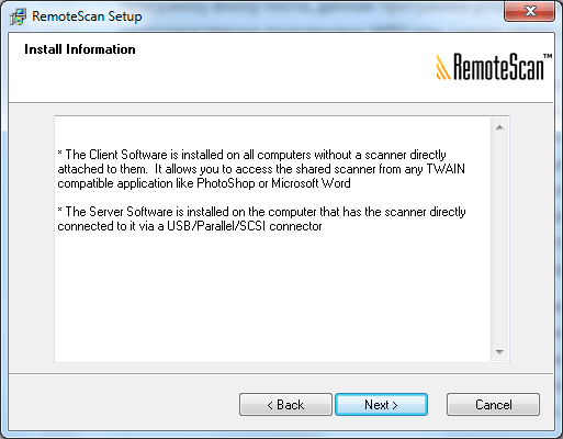 RemoteScan client software server software