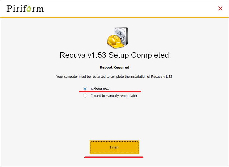 Recuva install reboot