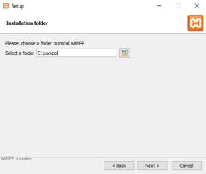 Выбираем папку для установки XAMPP