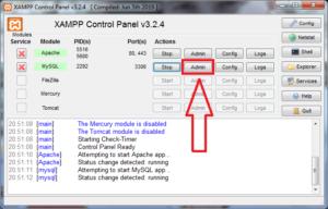 XAMPP открываем phpMyAdmin