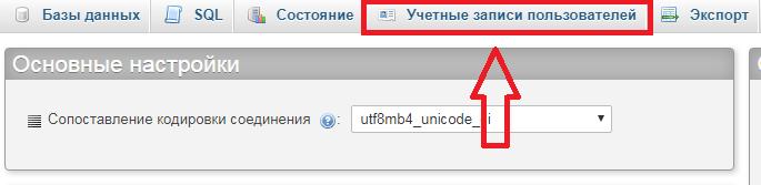 phpmyadmin учетные записи пользователей