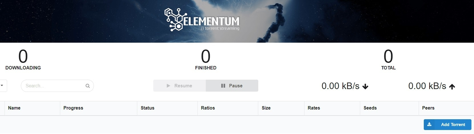 Веб интерфейс плагина Elementum