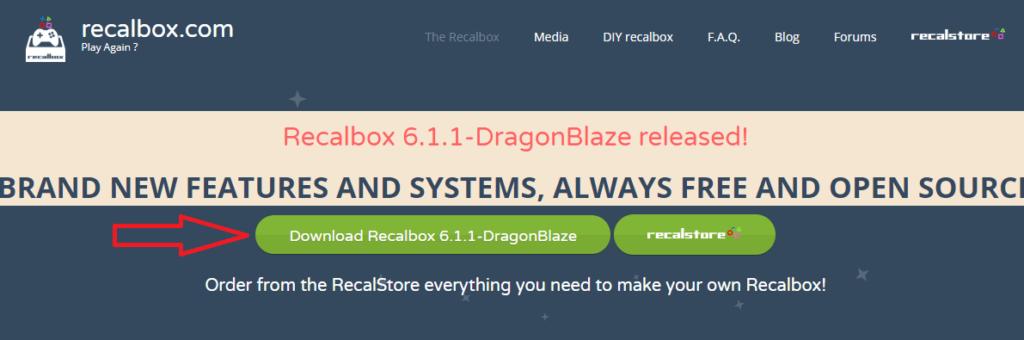 Скачиваем recalbox с официального сайта, с помощью кнопки Download Recalbox